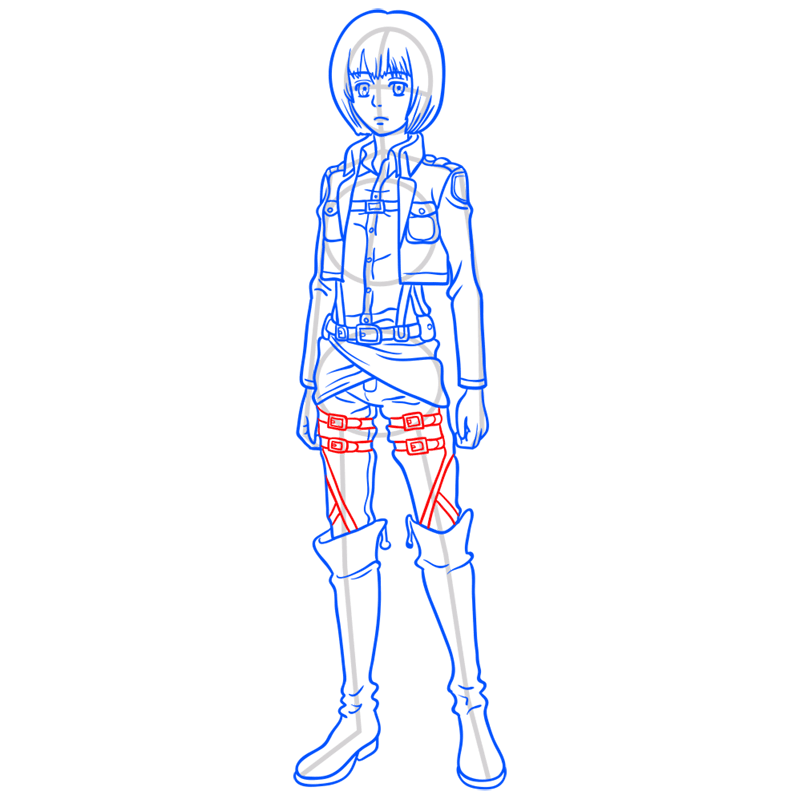 Learn easy to draw armin arlert step 10