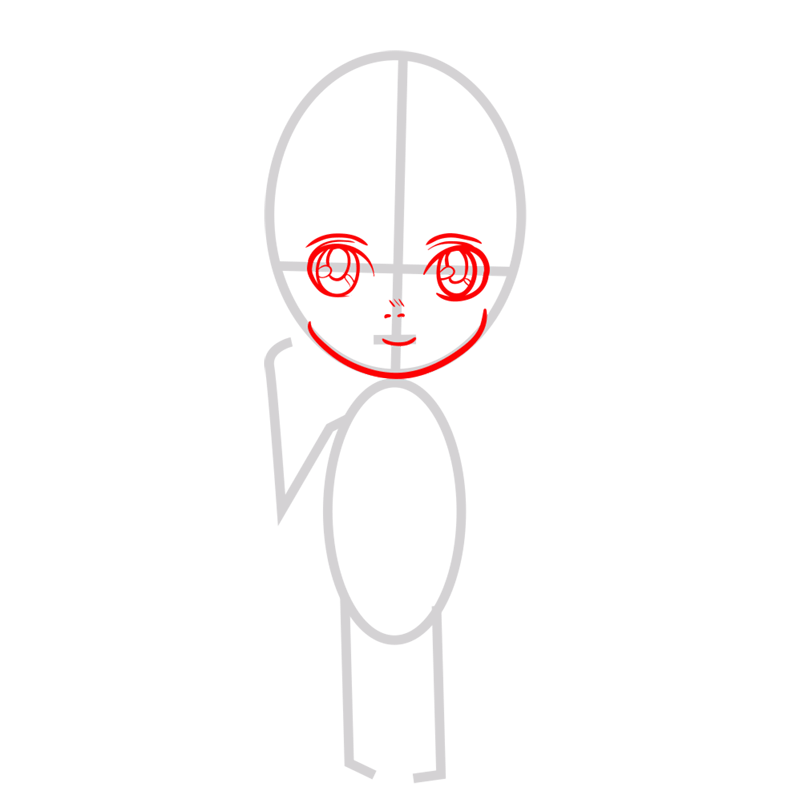 Learn easy to draw armin chibi step 02