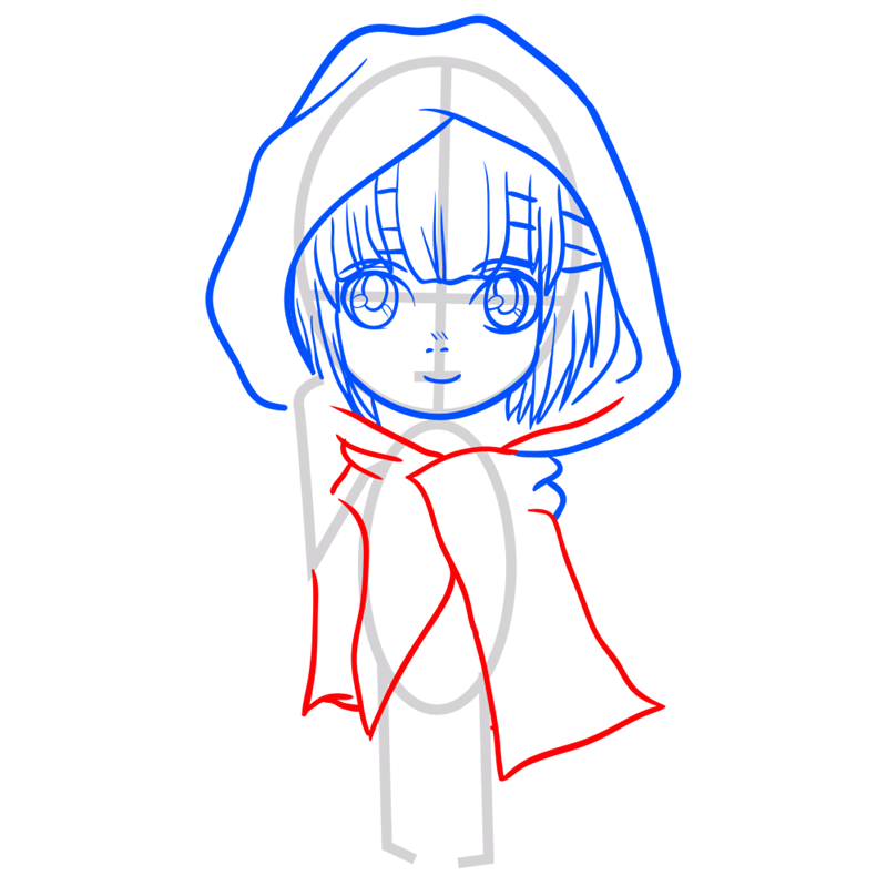 Learn easy to draw armin chibi step 05