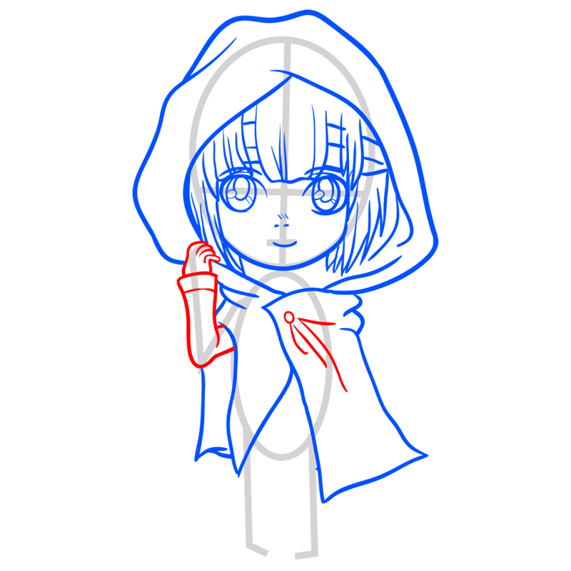 Learn easy to draw armin chibi step 06