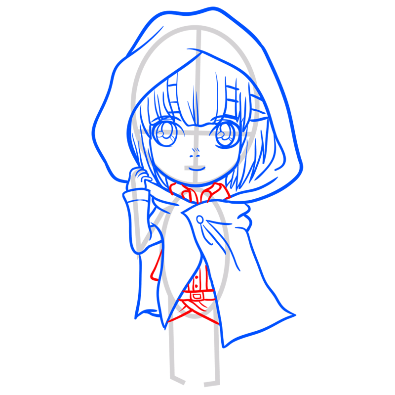 Learn easy to draw armin chibi step 07