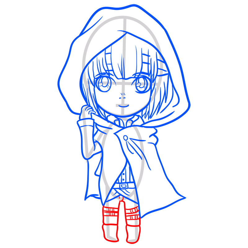 Learn easy to draw armin chibi step 08