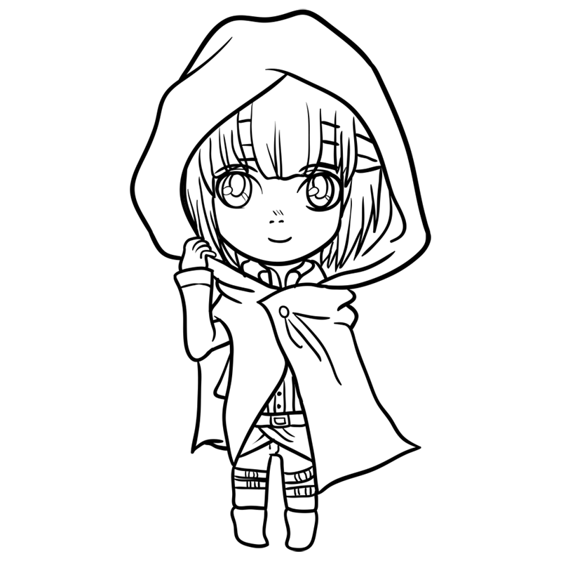 Learn easy to draw armin chibi step 09