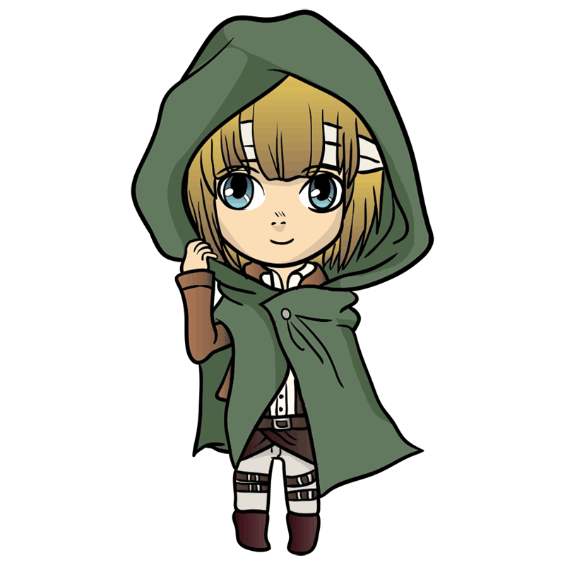 Learn easy to draw armin chibi step 10