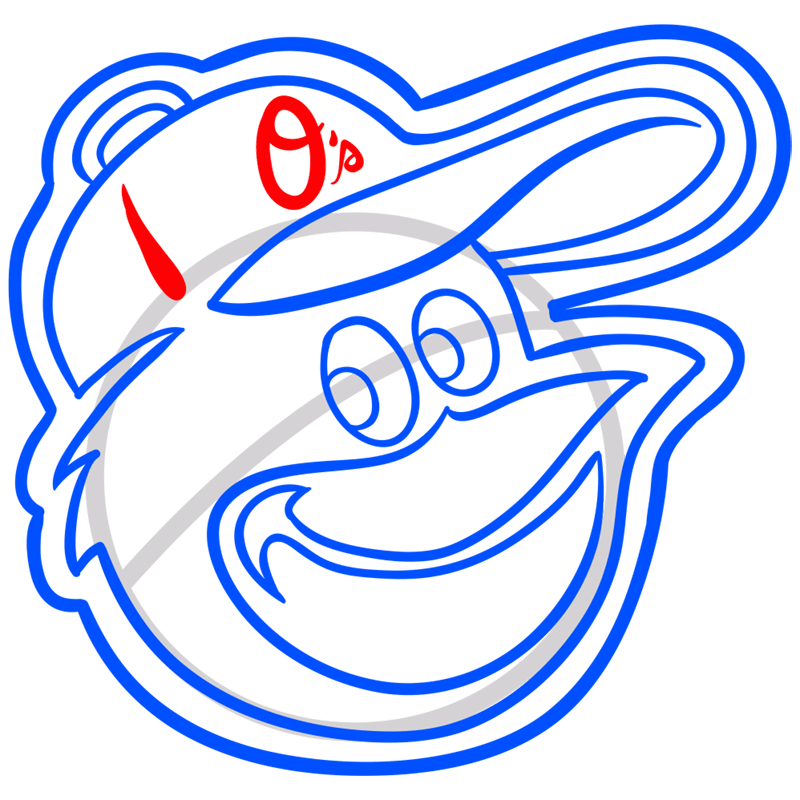 Learn easy to draw baltimore orioles  step 09