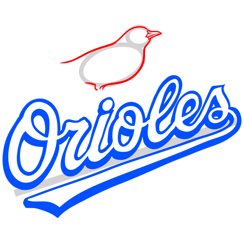 Learn easy to draw baltimore orioles logo step 07