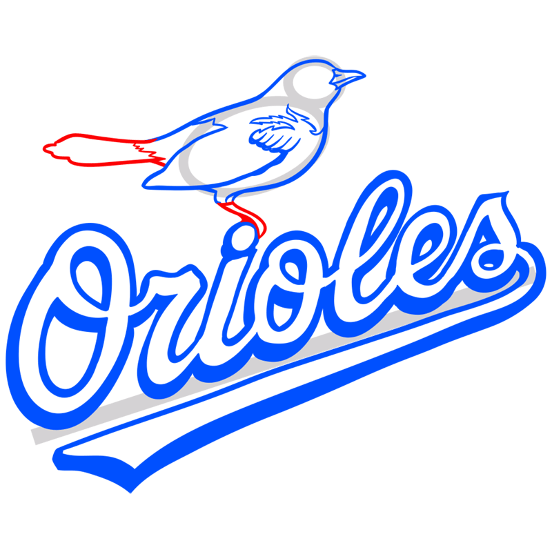 Learn easy to draw baltimore orioles logo step 09