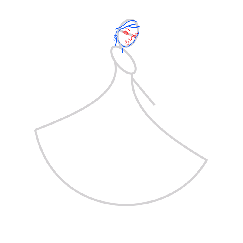 Learn easy to draw barbie in paris step 03