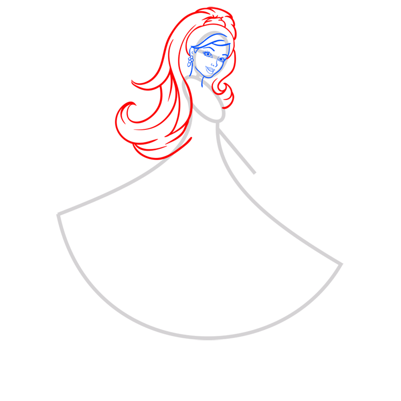 Learn easy to draw barbie in paris step 04