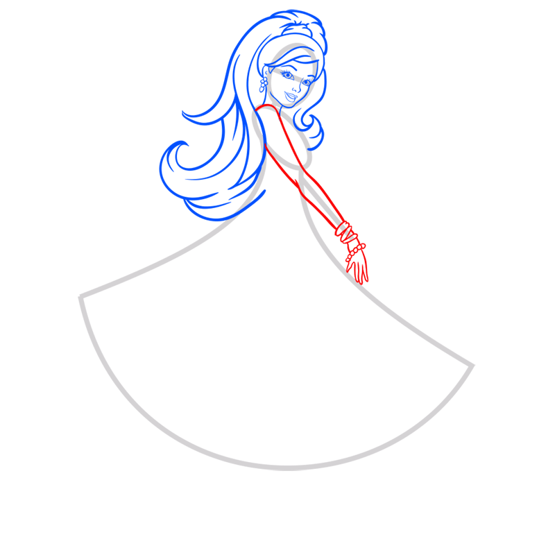 Learn easy to draw barbie in paris step 05
