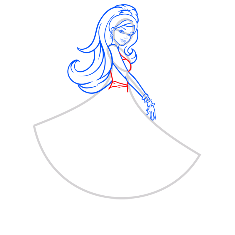 Learn easy to draw barbie in paris step 06