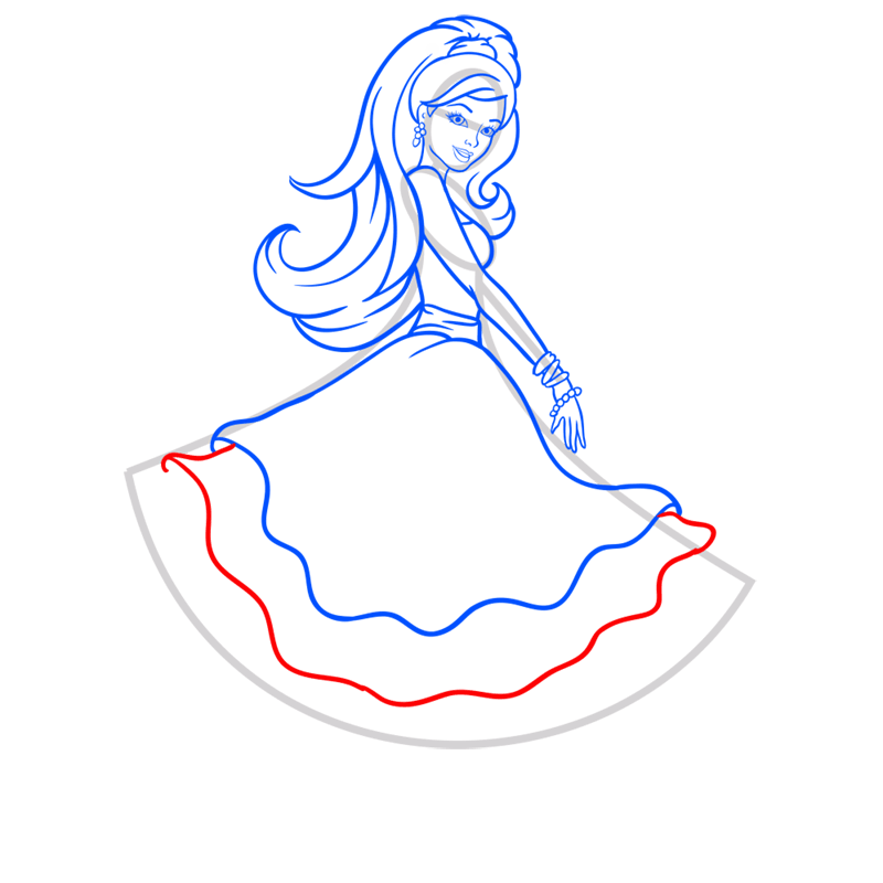 Learn easy to draw barbie in paris step 08