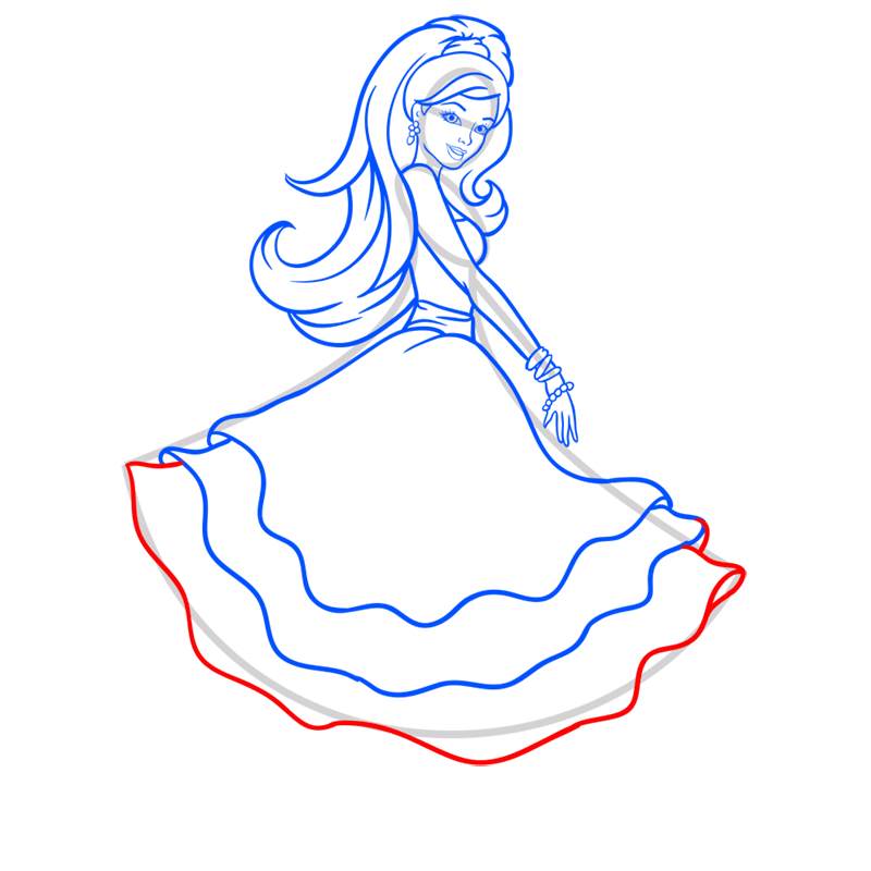 Learn easy to draw barbie in paris step 09