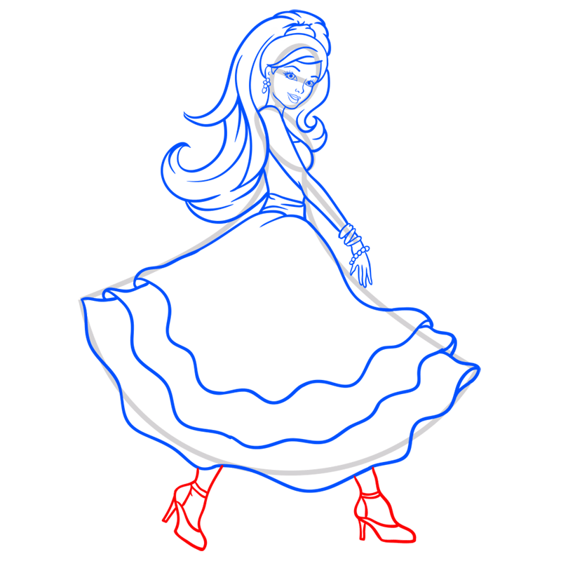 Learn easy to draw barbie in paris step 10