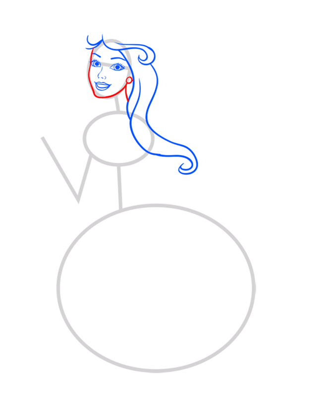 Learn easy to draw barbie singer step 04
