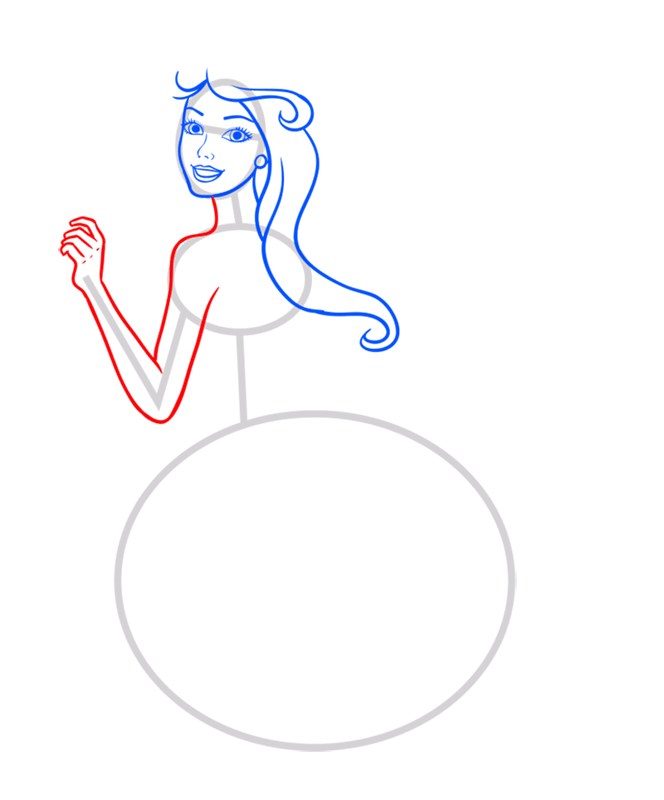 Learn easy to draw barbie singer step 05