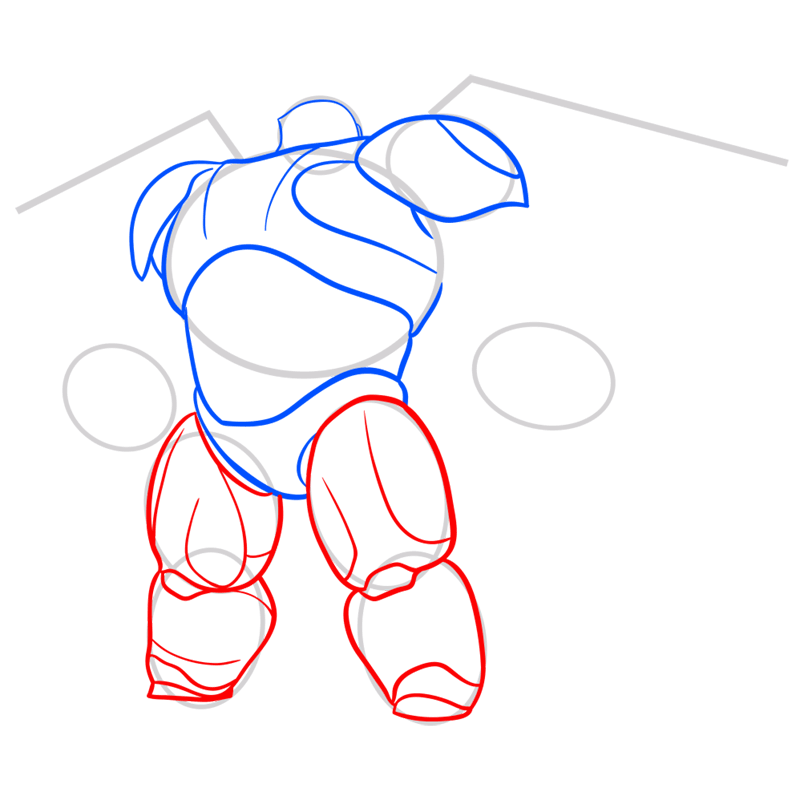 Learn easy to draw baymax in armor step 05
