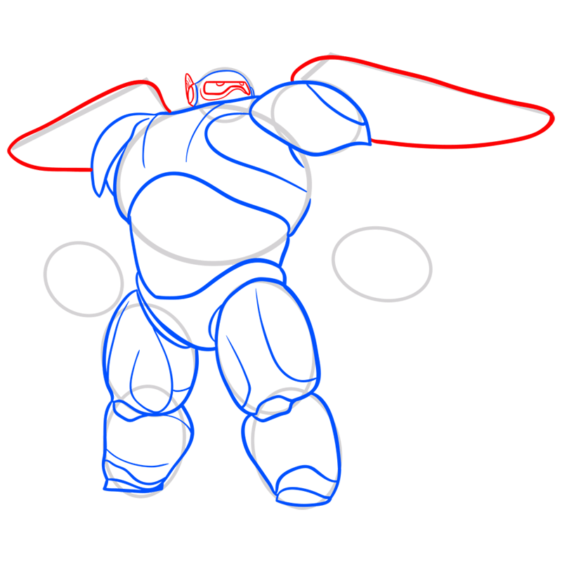 Learn easy to draw baymax in armor step 06