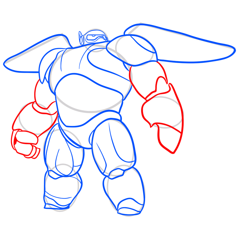 Learn easy to draw baymax in armor step 07