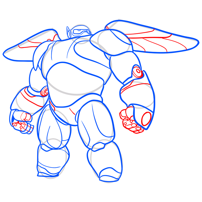 Learn easy to draw baymax in armor step 08