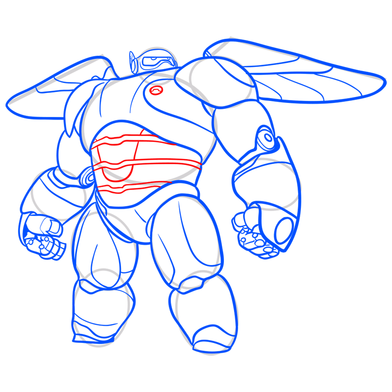 Learn easy to draw baymax in armor step 09