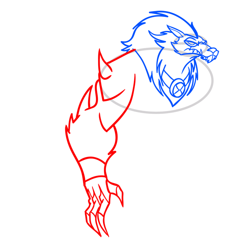Learn easy to draw blitzwolfer step 06