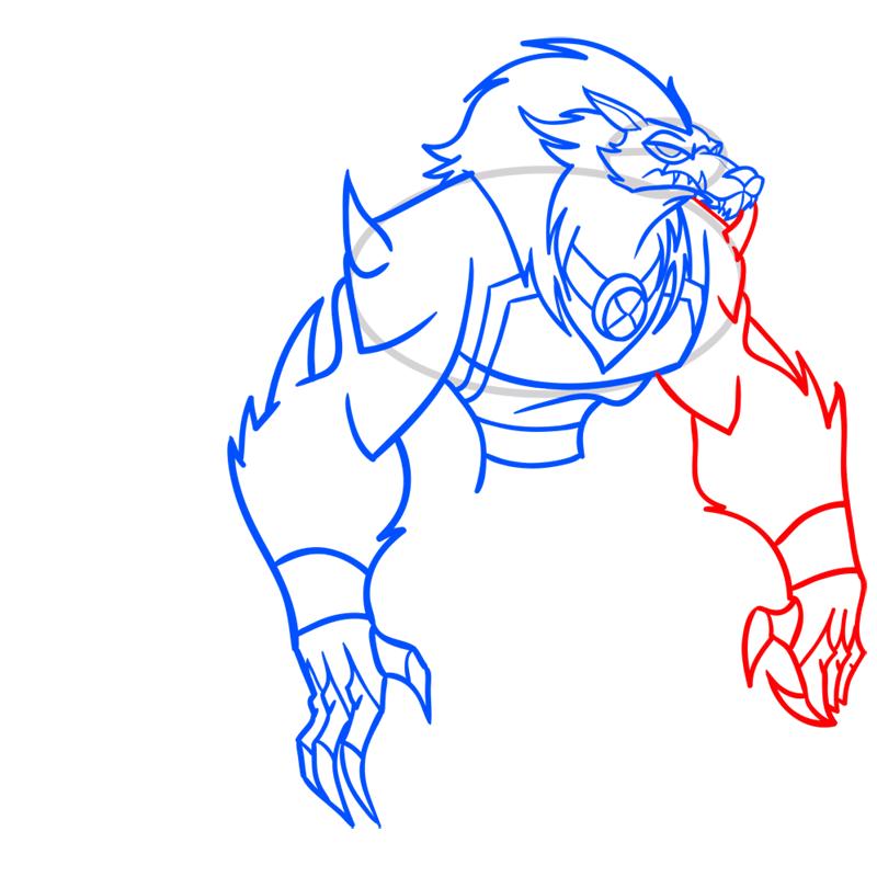 Learn easy to draw blitzwolfer step 08
