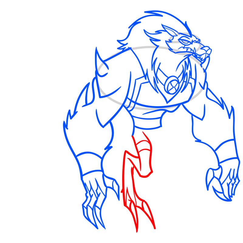 Learn easy to draw blitzwolfer step 09
