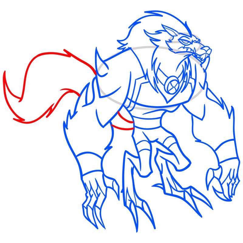 Learn easy to draw blitzwolfer step 11