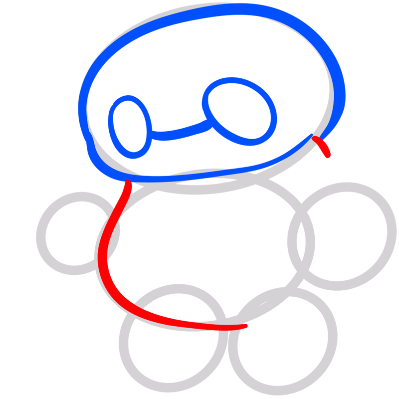 Learn easy to draw chibi baymax step 04