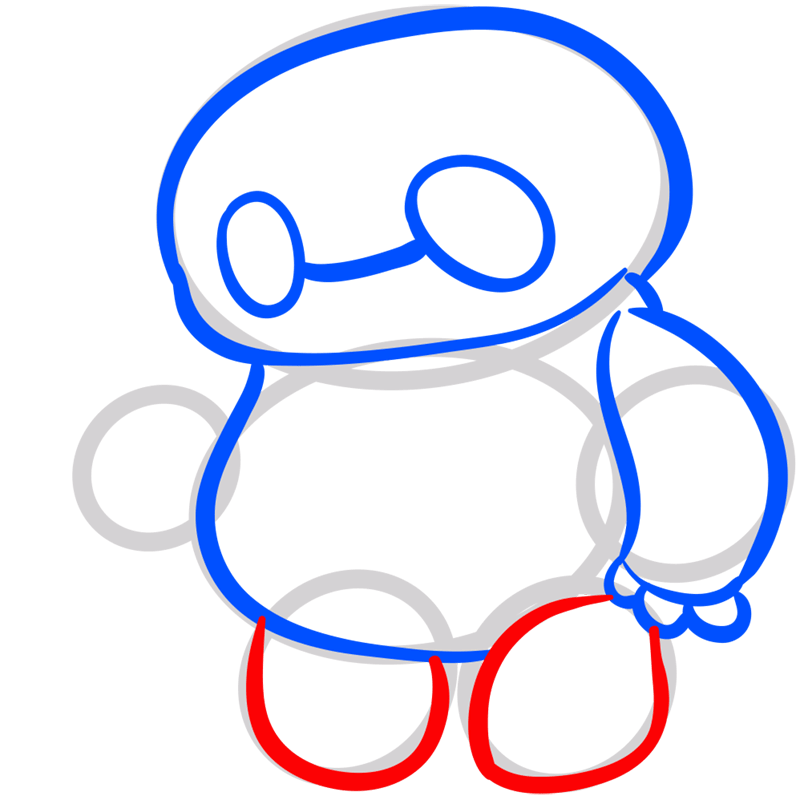 Learn easy to draw chibi baymax step 06