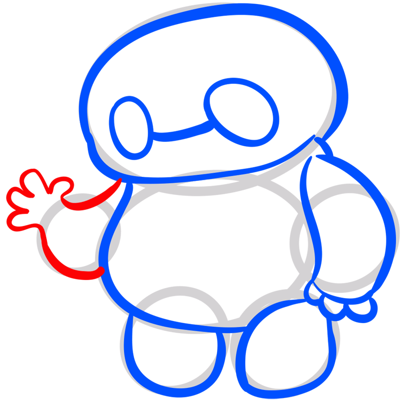 Learn easy to draw chibi baymax step 07