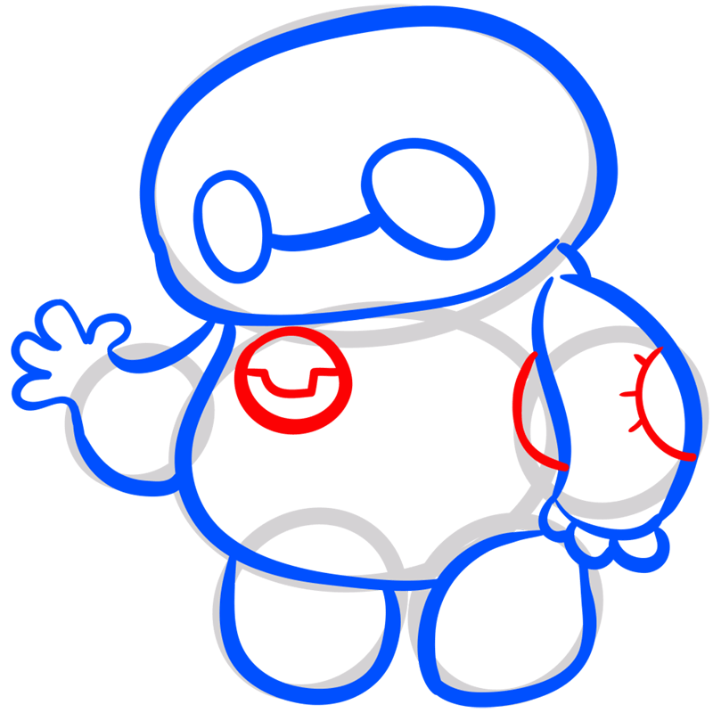 Learn easy to draw chibi baymax step 08