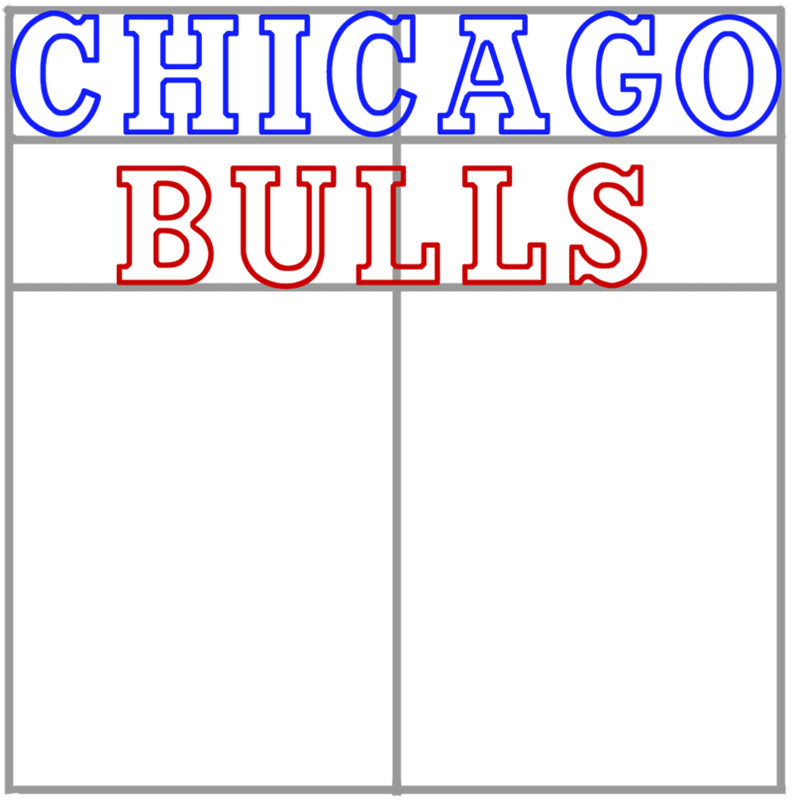 Learn easy to draw chicago bulls step 04