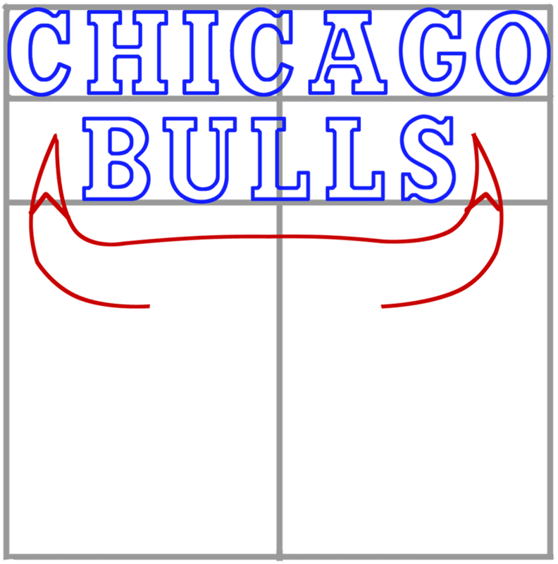 Learn easy to draw chicago bulls step 05