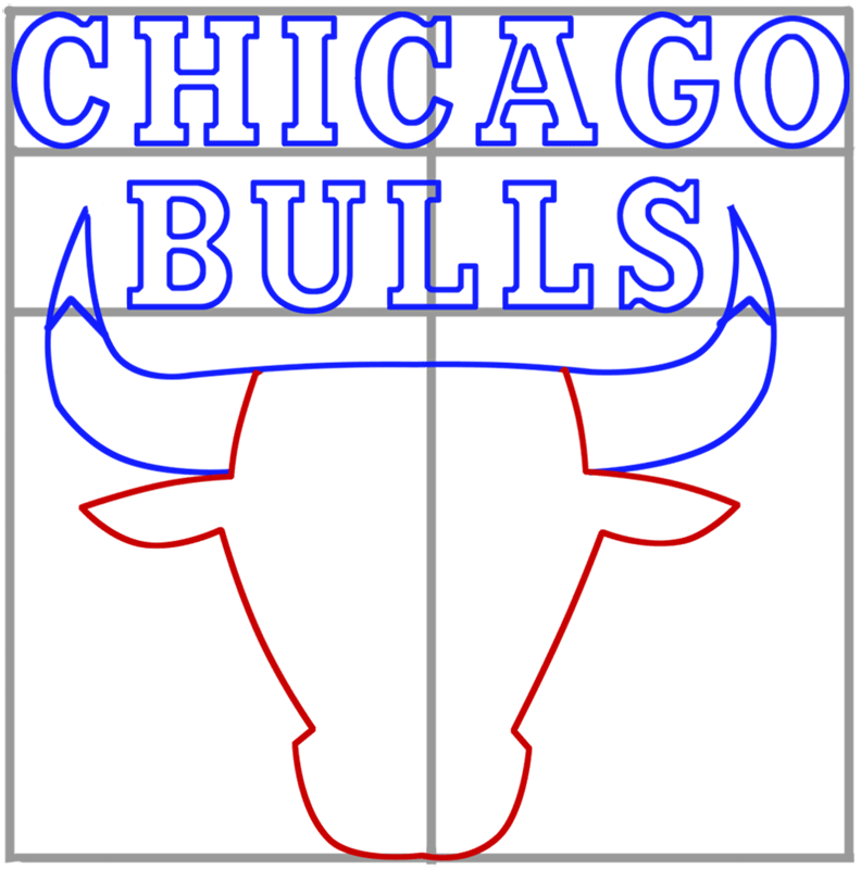 Learn easy to draw chicago bulls step 06