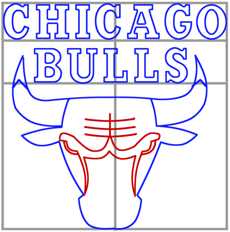 Learn easy to draw chicago bulls step 07