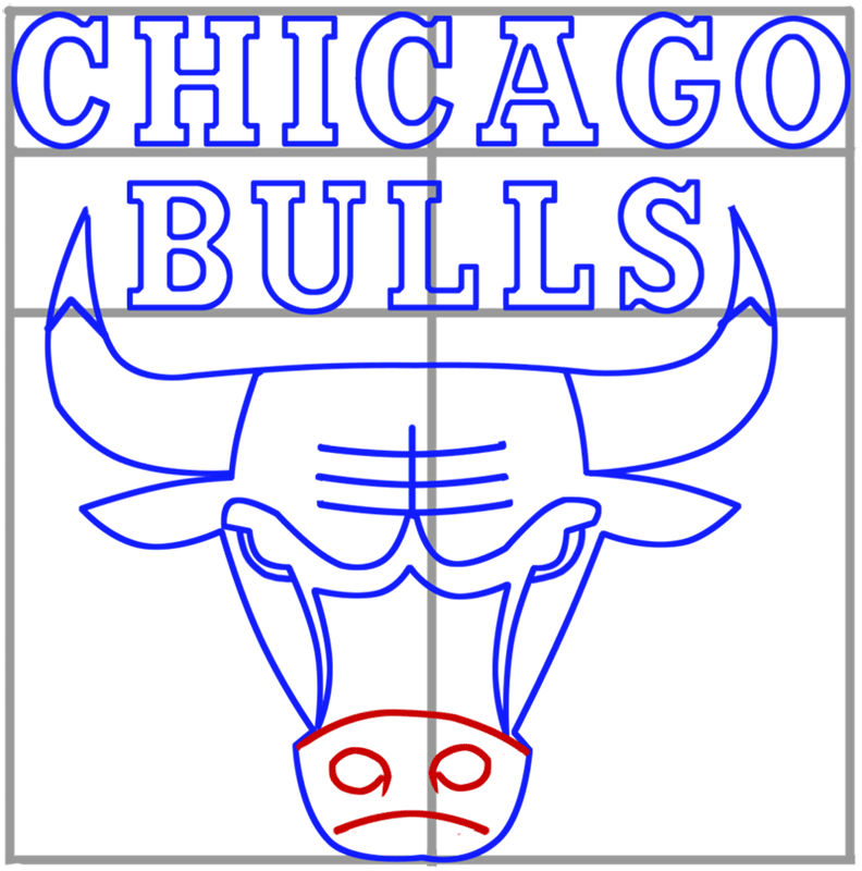 Learn easy to draw chicago bulls step 08