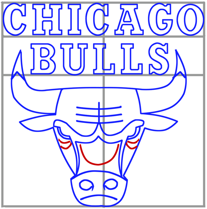 Learn easy to draw chicago bulls step 09