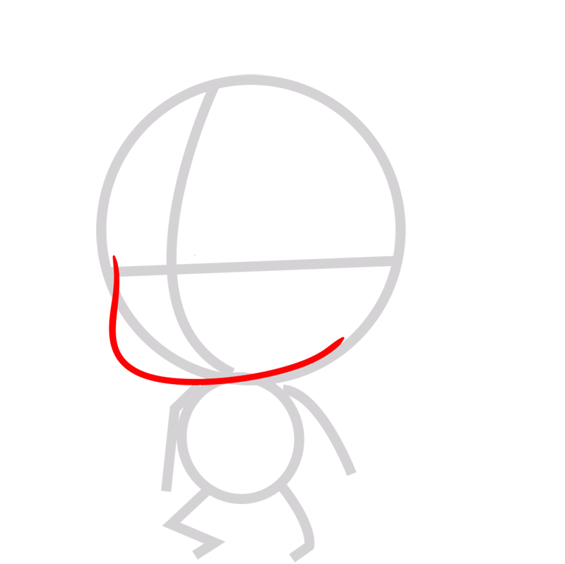 Learn easy to draw coloss chibi step 02