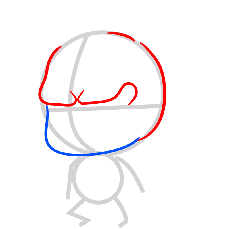 Learn easy to draw coloss chibi step 03
