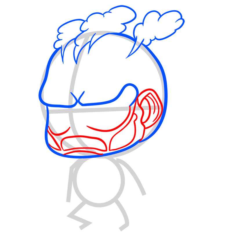Learn easy to draw coloss chibi step 05