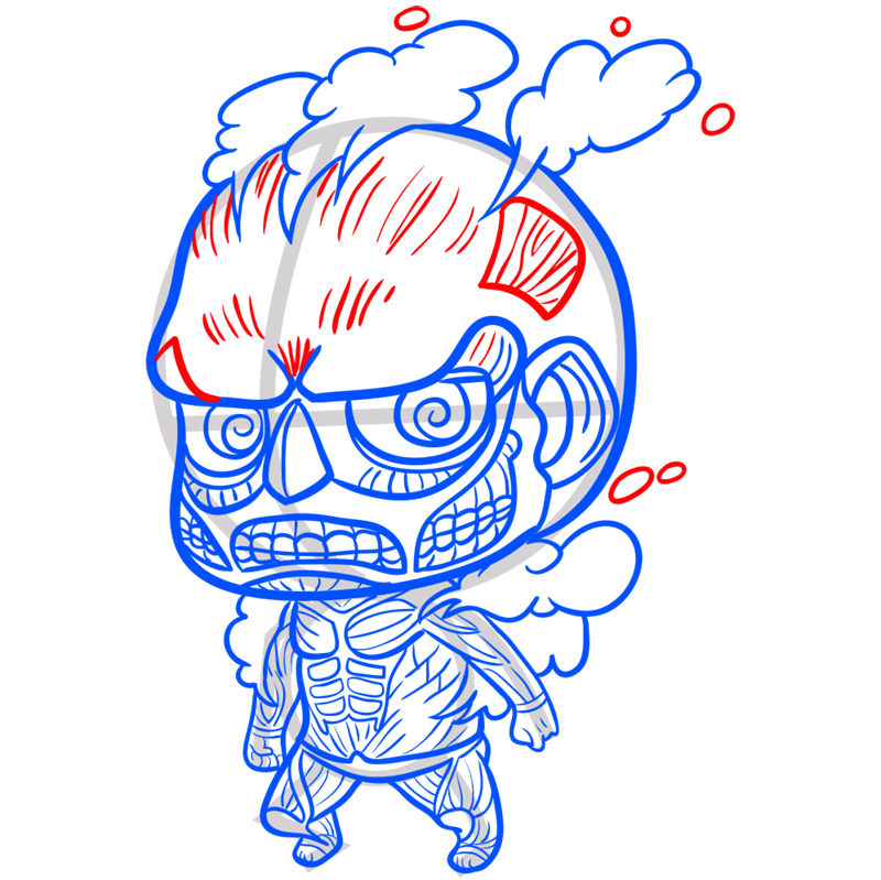 Learn easy to draw coloss chibi step 11