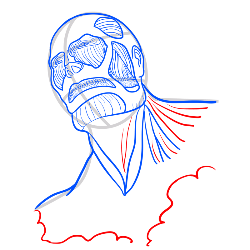 Learn easy to draw colossal titan step 07
