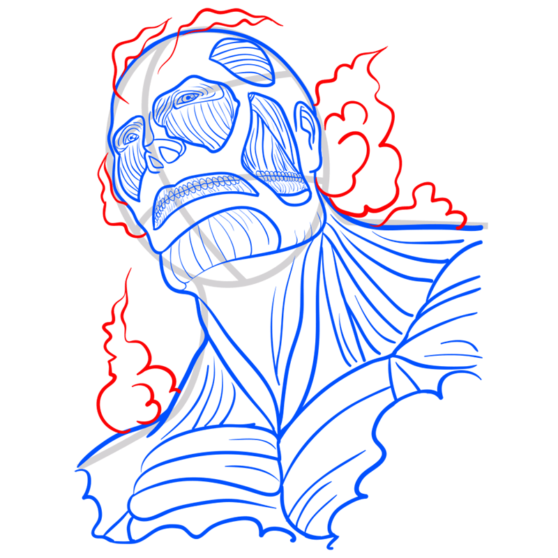 Learn easy to draw colossal titan step 09