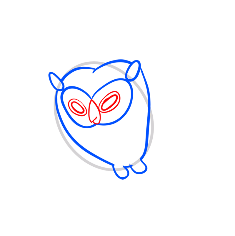 Learn easy to draw cosmic owl step 04