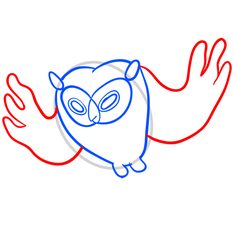 Learn easy to draw cosmic owl step 05
