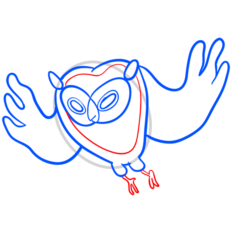 Learn easy to draw cosmic owl step 06