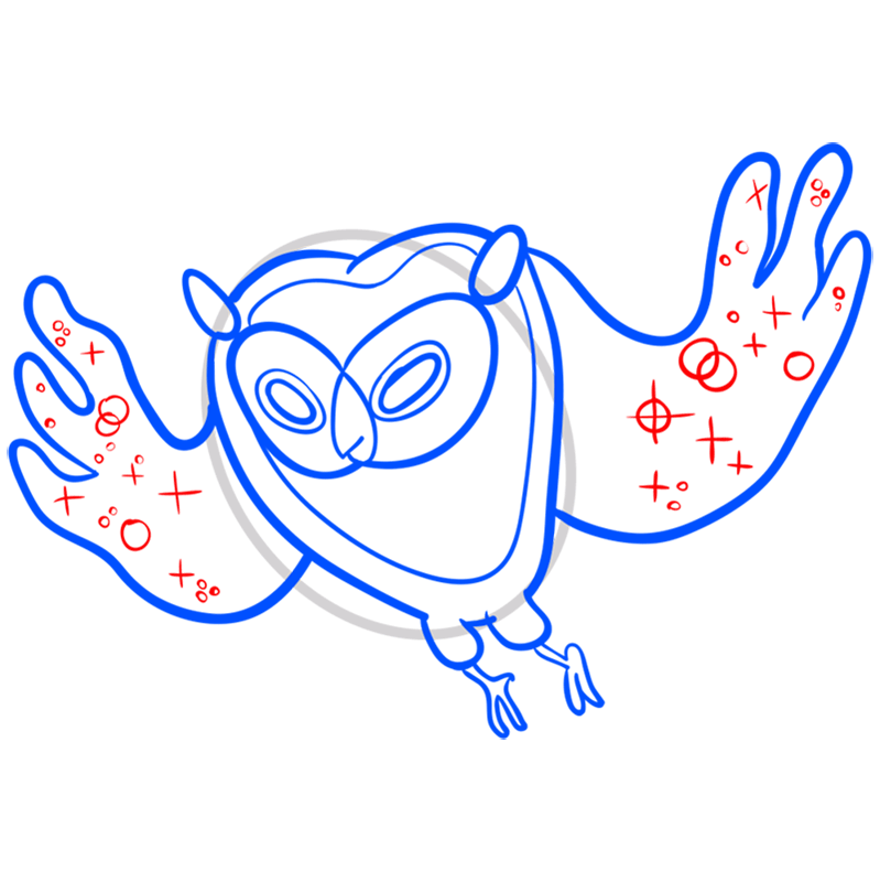 Learn easy to draw cosmic owl step 07