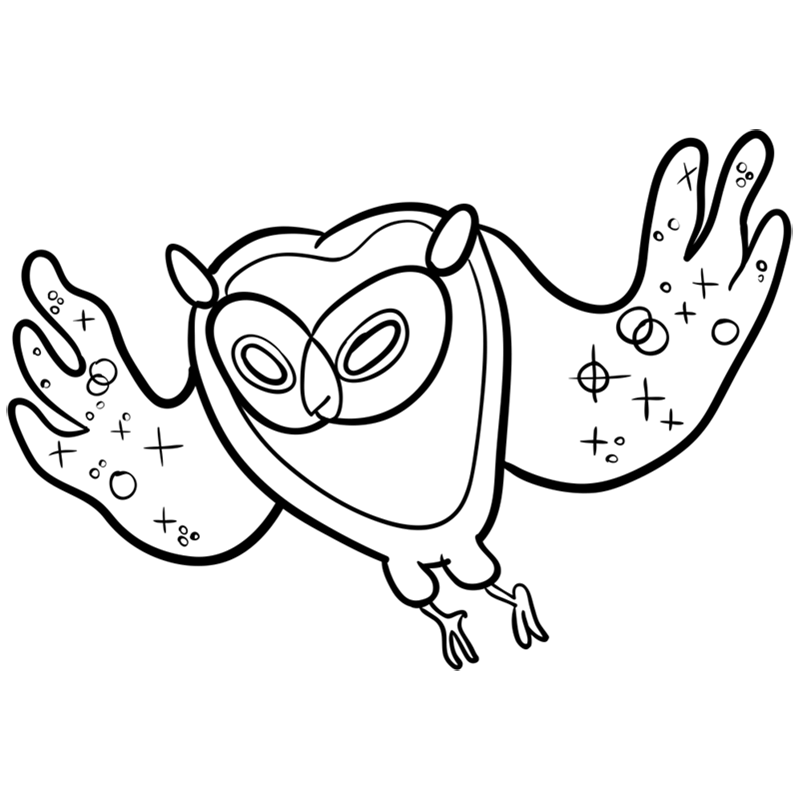 Learn easy to draw cosmic owl step 08